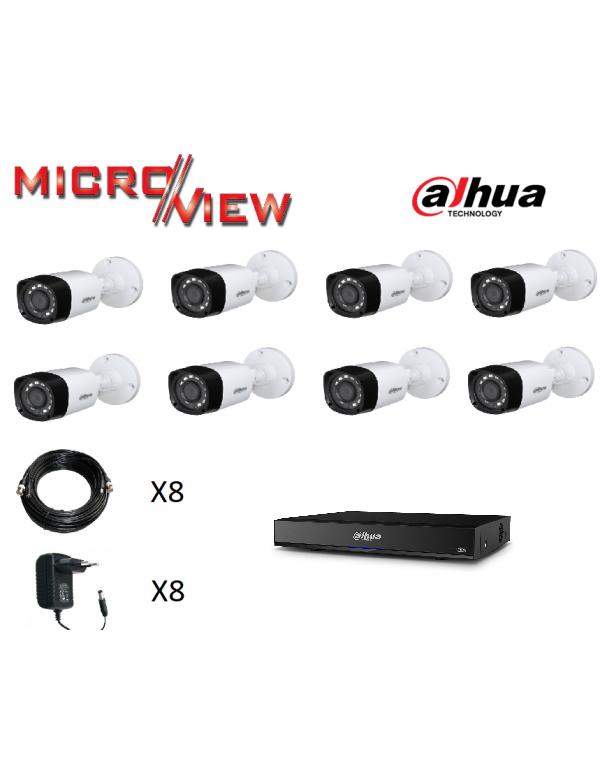 8 Caméras HAC-HFW1200R-S3 + Enregistreur XVR7108HE-4KL-X