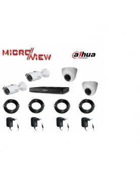 Kit vidéosurveillance 4 Caméras  2 HAC-HFW1100S + 2 Caméras HAC-HDW1100R + Enregistreur XVR4104HS-X1