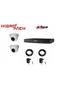 2 Caméras HAC-HDBW1100E + Enregistreur XVR4104HS